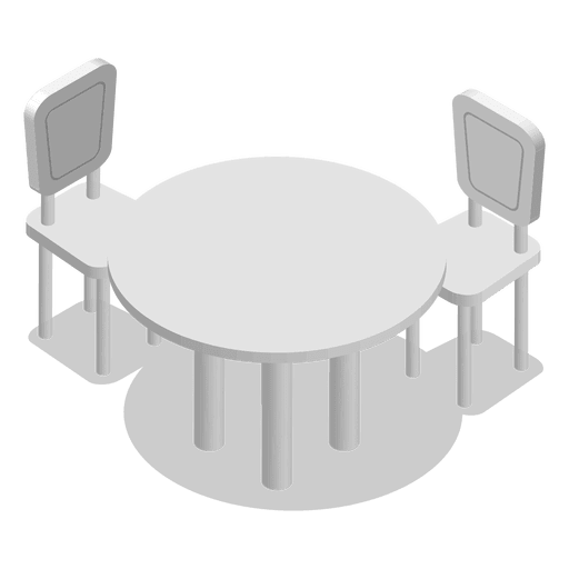 Isometric home table with chairs Transparent PNG
