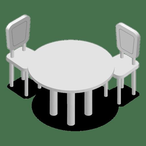 Mesa de casa isométrica com cadeiras Transparent PNG