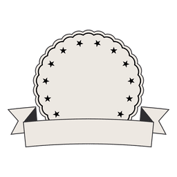 Vintage label badge ribbon with two stars - Transparent PNG