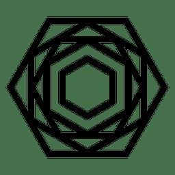 Logo con forma poligonal geométrica.