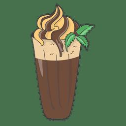 Milchshake-Bananen-Schokoladennachtisch