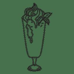 Ilustración de esbozo de postre batido