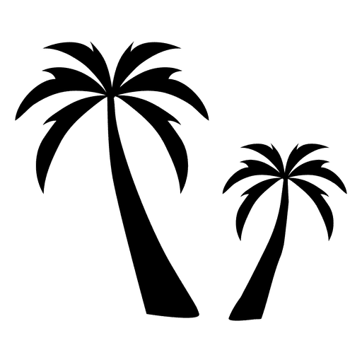 Two palm tree silhouette palm Transparent PNG
