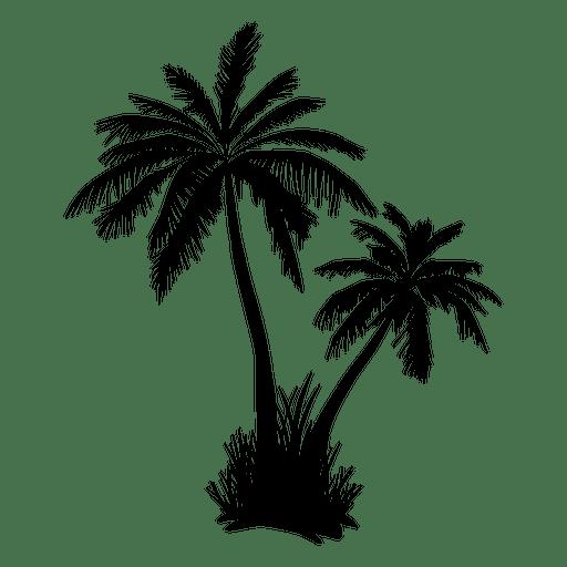 Silhueta de dois palmeira e grama Transparent PNG