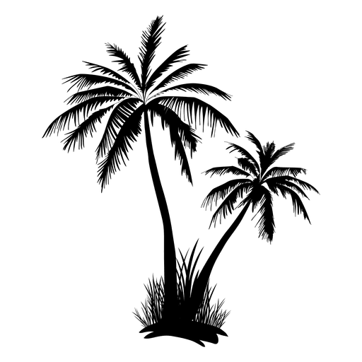 Two palm tree and grass silhouette Transparent PNG