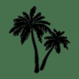 Silueta de la palmera negra