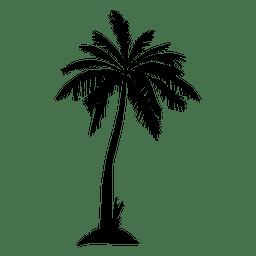 Negro aislado silueta de la palmera