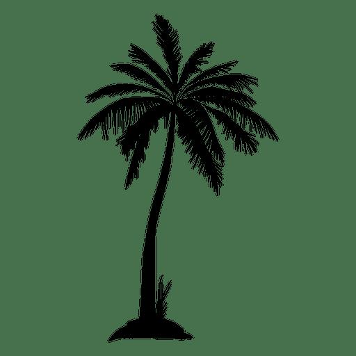 Silhueta de palmeira isolada preta Transparent PNG