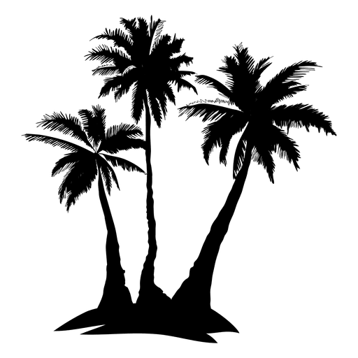 Complex palm tree silhouette Transparent PNG