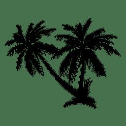 Palmeschattenbild auf Insel