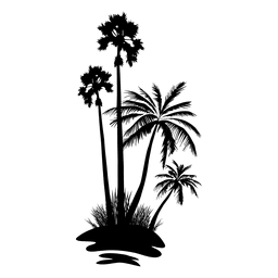 Palm tree forest silhouette