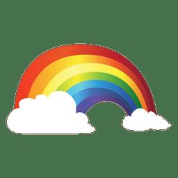 Arco-íris colorido com nuvens