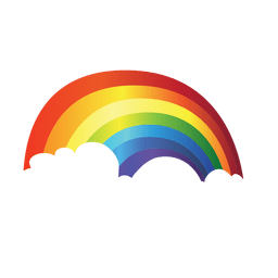Bunter Regenbogen mit Wolken
