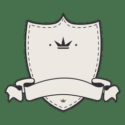 Escudo en blanco etiqueta vintage insignia cinta