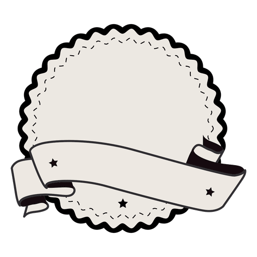 Vintage label badge ribbon with two stars Transparent PNG