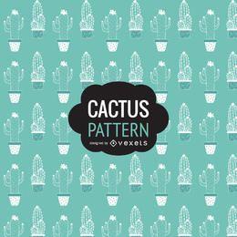Dibujado a mano patrón de cactus
