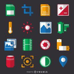 Colección de iconos de fotografía plana