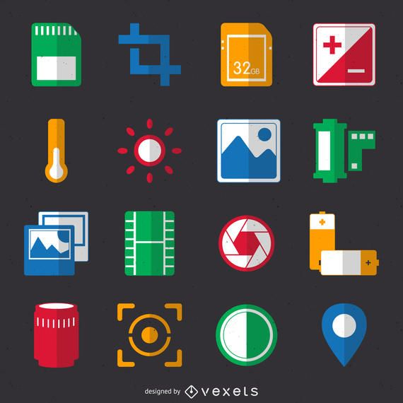 Flat photography icon collection