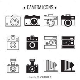 Conjunto de ilustração de câmera vintage