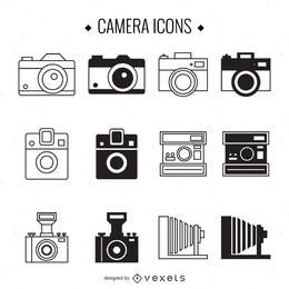 Conjunto de ilustración de cámara vintage