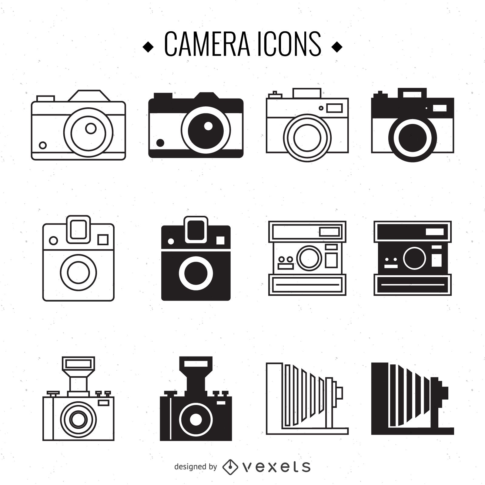 Vintage camera illustration set