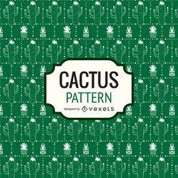 Green hand drawn cactus pattern