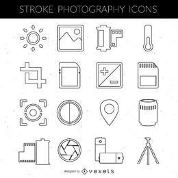 Colección de iconos de la fotografía de trazo