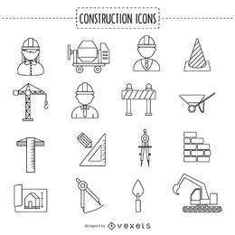 Colección de iconos de stoke de construcción