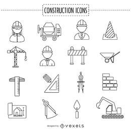 Construction stoke icon collection