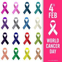 Cartaz do Dia Mundial do Câncer colorido fitas