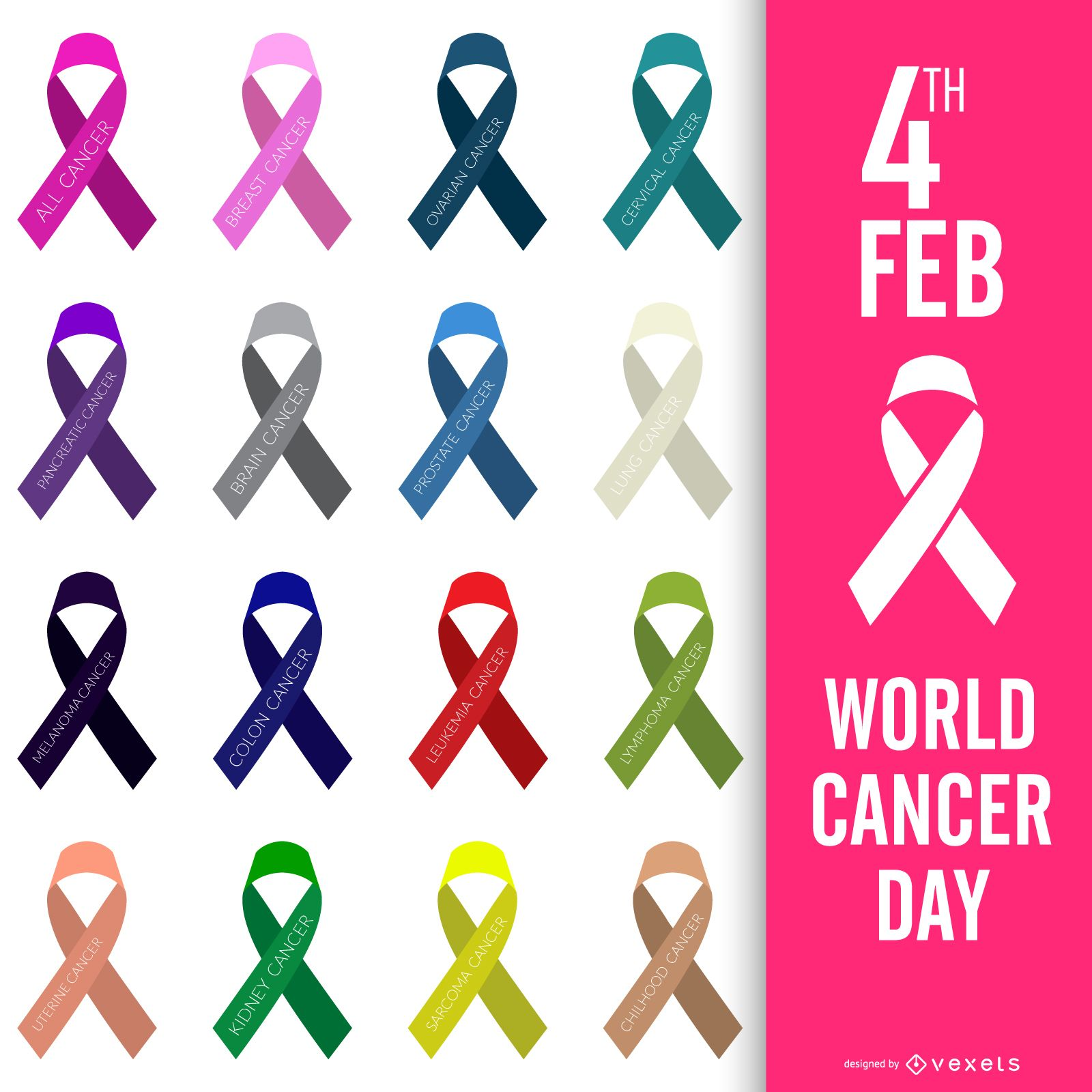 World Cancer Day poster colored ribbons