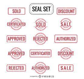 Venda autorizada Rejeitado e mais selos definir