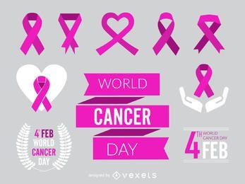 Conjunto de fita e elemento do dia mundial do câncer
