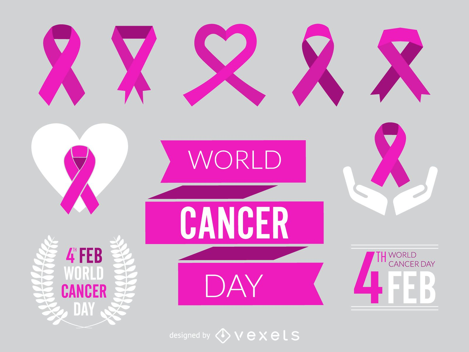 World Cancer Day ribbon and element set