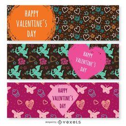 Conjunto de banners de feliz día de San Valentín
