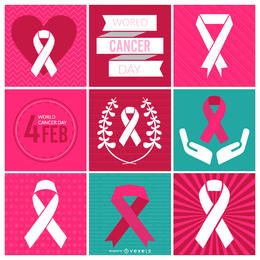 Fitas e rótulos do Dia Mundial do Câncer