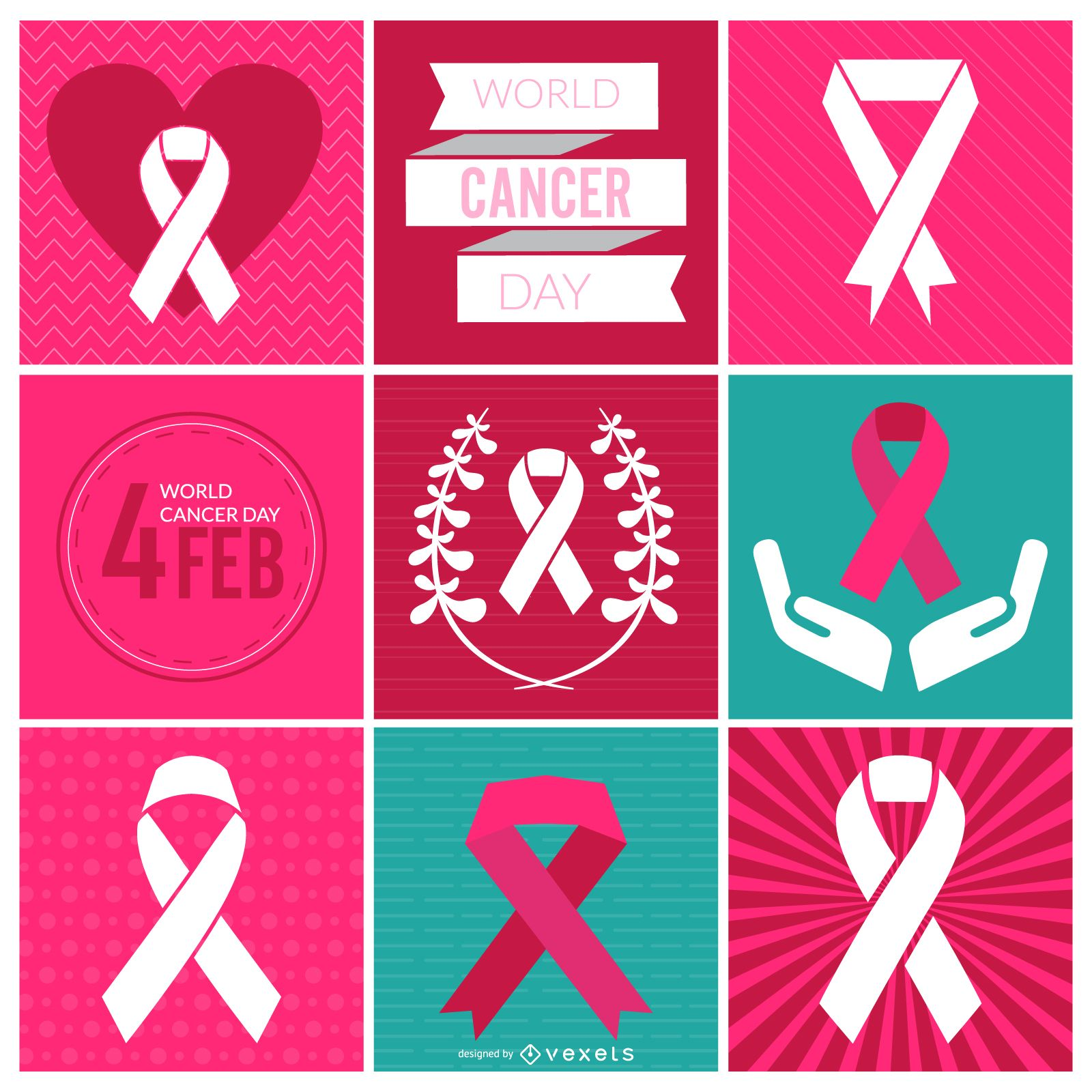 World Cancer Day ribbons and labels
