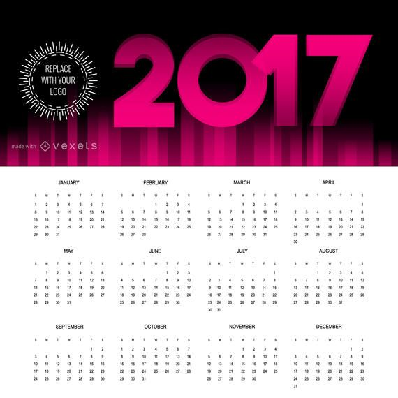 2017 calendar maker in different languages editable design