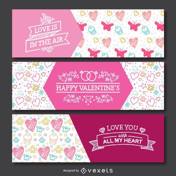 Valentine's Day doodles banner set