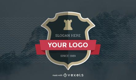 Emblema com fabricante de fitas
