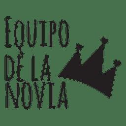 Equipo de la novia de la boda frase española