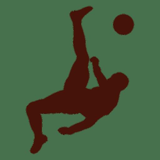 Football player kick scissors silhouette