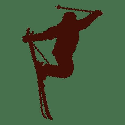 Silhueta de salto de freestyle de esqui Transparent PNG