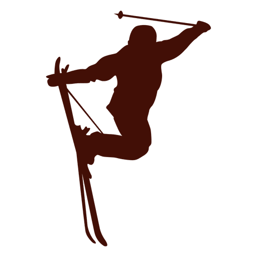 Ski freestyle jump silhouette Transparent PNG