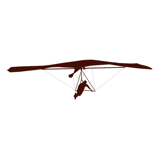Hang gliding flight right turn silhouette