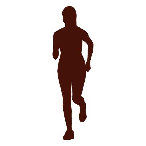 Woman jogging recreation silhouette png