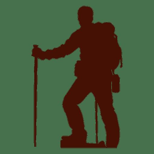 Silhueta de alpinista de altitude de montanhismo Transparent PNG