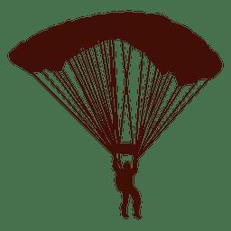 Silhueta de voo de parapente