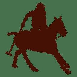 Polo a caballo acción silueta