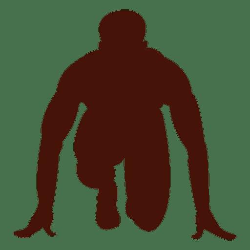 Atleta corriendo silueta de posición de inicio